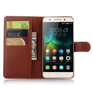 Чехол портмоне подставка на пластиковой основе на магнитной защелке для Huawei Honor 4C  Коричневый