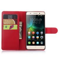 Чехол портмоне подставка на пластиковой основе на магнитной защелке для Huawei Honor 4C  Красный