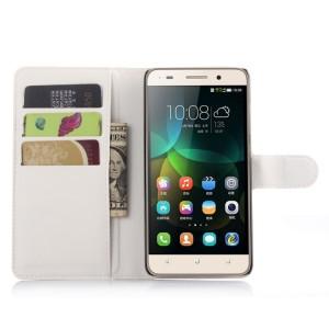 Чехол портмоне подставка на пластиковой основе на магнитной защелке для Huawei Honor 4C  Белый