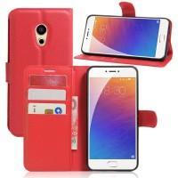 Чехол портмоне подставка на силиконовой основе на магнитной защелке для Meizu Pro 6 Красный