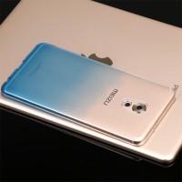 Силиконовый глянцевый полупрозрачный градиентный чехол для Meizu Pro 6 Plus  Голубой