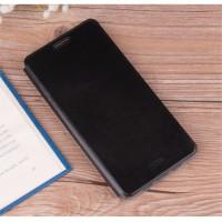 Глянцевый водоотталкивающий чехол горизонтальная книжка подставка на силиконовой основе для Meizu Pro 6 Plus  Черный