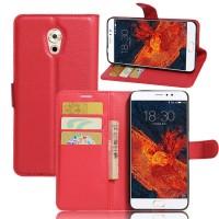 Чехол портмоне подставка на силиконовой основе с отсеком для карт на магнитной защелке для Meizu Pro 6 Plus  Красный