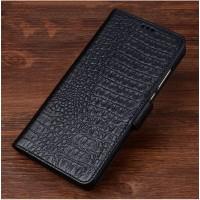 Кожаный чехол портмоне подставка (премиум нат. кожа крокодила) с магнитной застежкой для Meizu Pro 6 Plus  Черный