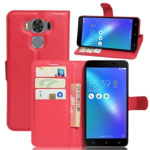 Чехол портмоне подставка на силиконовой основе с отсеком для карт на магнитной защелке для ASUS ZenFone 3 Max ZC553KL Красный