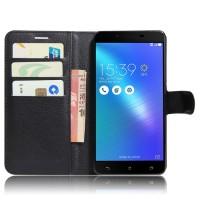 Чехол портмоне подставка на силиконовой основе с отсеком для карт на магнитной защелке для ASUS ZenFone 3 Max ZC553KL Черный