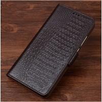Кожаный чехол горизонтальная книжка подставка (премиум нат. кожа крокодила) с магнитной застежкой для ASUS ZenFone 3 Max ZC553KL  Коричневый