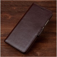 Кожаный чехол горизонтальная книжка подставка (премиум нат. кожа) с магнитной застежкой для ASUS ZenFone 3 Max ZC553KL  Коричневый