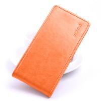 Глянцевый водоотталкивающий чехол вертикальная книжка на силиконовой основе на магнитной защелке для ASUS ZenFone 3 Max ZC553KL Оранжевый