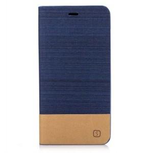 Чехол горизонтальная книжка подставка на силиконовой основе с тканевым покрытием для ASUS ZenFone 3 Max ZC553KL Синий