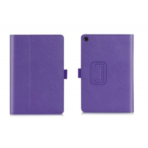 Глянцевый водоотталкивающий чехол книжка подставка с рамочной защитой экрана, крепежом для стилуса, отсеком для карт и поддержкой кисти для ASUS ZenPad 3 8.0 Z581KL  Фиолетовый