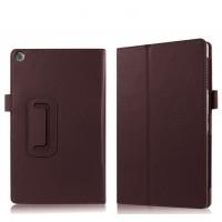 Чехол книжка подставка с рамочной защитой экрана и крепежом для стилуса для ASUS ZenPad 3S 10/10 LTE Коричневый