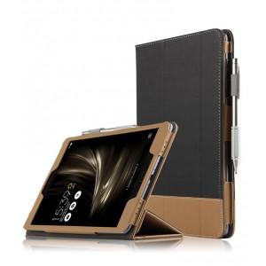 Сегментарный чехол книжка подставка с рамочной защитой экрана, крепежом для стилуса и тканевым покрытием для ASUS ZenPad 3S 10