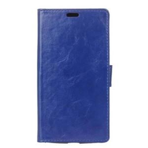 Глянцевый водоотталкивающий чехол портмоне подставка на силиконовой основе с отсеком для карт на магнитной защелке для Acer Liquid Zest Plus Синий