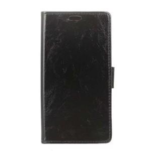Глянцевый водоотталкивающий чехол портмоне подставка на силиконовой основе с отсеком для карт на магнитной защелке для Acer Liquid Zest Plus Черный