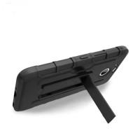 Двухкомпонентный силиконовый матовый непрозрачный чехол с нескользящими гранями, поликарбонатными бампером и крышкой и встроенной ножкой-подставкой для HTC 10 evo Черный
