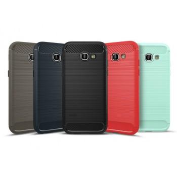 Силиконовый матовый непрозрачный чехол с улучшенной защитой элементов корпуса (заглушки) и текстурным покрытием Металлик для Samsung Galaxy A5 (2017)