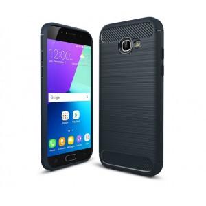 Силиконовый матовый непрозрачный чехол с улучшенной защитой элементов корпуса (заглушки) и текстурным покрытием Металлик для Samsung Galaxy A5 (2017) Синий