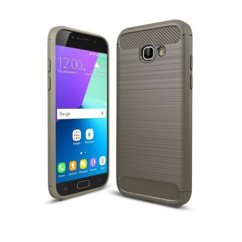 Силиконовый матовый непрозрачный чехол с улучшенной защитой элементов корпуса (заглушки) и текстурным покрытием Металлик для Samsung Galaxy A5 (2017) Черный