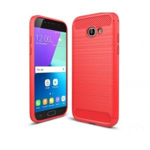Силиконовый матовый непрозрачный чехол с улучшенной защитой элементов корпуса (заглушки) и текстурным покрытием Металлик для Samsung Galaxy A5 (2017) Красный