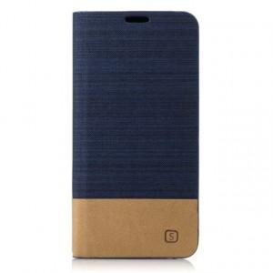 Чехол портмоне подставка на силиконовой основе с тканевым покрытием для Samsung Galaxy A5 (2017) Синий