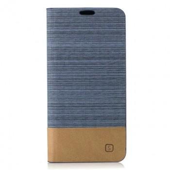 Чехол портмоне подставка на силиконовой основе с тканевым покрытием для Samsung Galaxy A5 (2017) Голубой