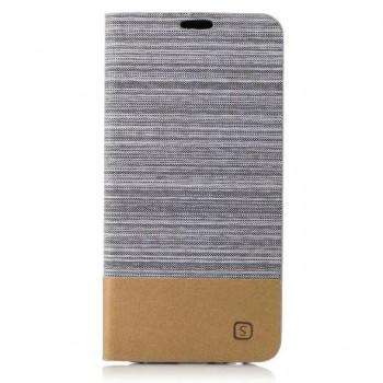 Чехол портмоне подставка на силиконовой основе с тканевым покрытием для Samsung Galaxy A5 (2017) Белый