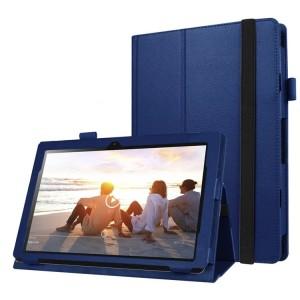Чехол книжка подставка с рамочной защитой экрана, крепежом для стилуса и поддержкой кисти для Lenovo IdeaPad MIIX 310  Синий