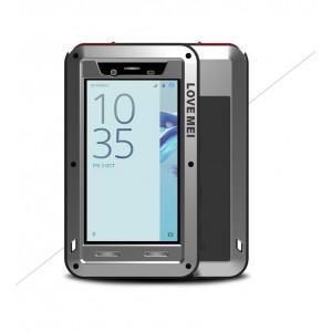 Эксклюзивный многомодульный ультрапротекторный пылевлагозащищенный ударостойкий нескользящий чехол алюминиево-цинковый сплав/силиконовый полимер с закаленным защитным стеклом для Sony Xperia X Compact Серый