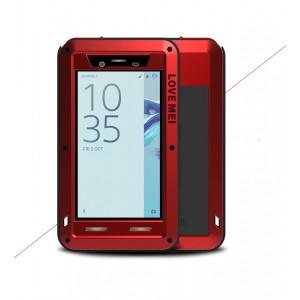 Эксклюзивный многомодульный ультрапротекторный пылевлагозащищенный ударостойкий нескользящий чехол алюминиево-цинковый сплав/силиконовый полимер с закаленным защитным стеклом для Sony Xperia X Compact Красный