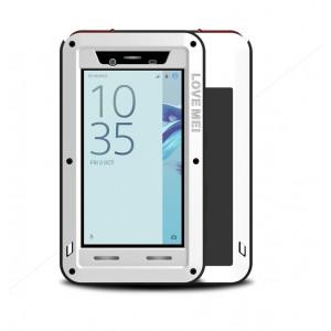 Эксклюзивный многомодульный ультрапротекторный пылевлагозащищенный ударостойкий нескользящий чехол алюминиево-цинковый сплав/силиконовый полимер с закаленным защитным стеклом для Sony Xperia X Compact Белый