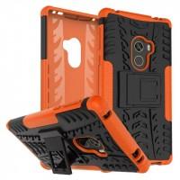 Противоударный двухкомпонентный силиконовый матовый непрозрачный чехол с поликарбонатными вставками экстрим защиты для Xiaomi Mi Mix Оранжевый