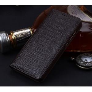 Кожаный чехол горизонтальная книжка (премиум нат. кожа крокодила) для Xiaomi Mi Mix Коричневый