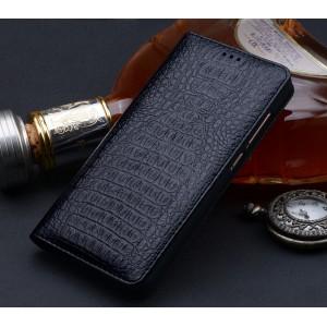 Кожаный чехол горизонтальная книжка (премиум нат. кожа крокодила) для Xiaomi Mi Mix Черный