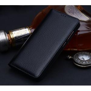 Кожаный чехол горизонтальная книжка (премиум нат. кожа) для Xiaomi Mi Mix Черный