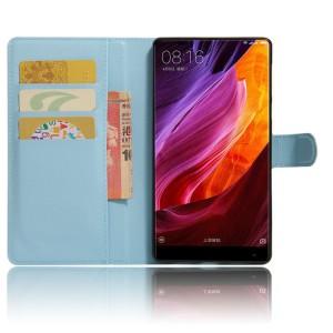 Чехол портмоне подставка на силиконовой основе с отсеком для карт на магнитной защелке для Xiaomi Mi Mix Синий