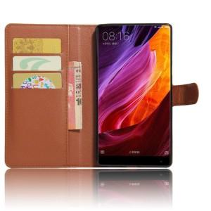 Чехол портмоне подставка на силиконовой основе с отсеком для карт на магнитной защелке для Xiaomi Mi Mix Коричневый