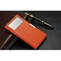 Кожаный чехол горизонтальная книжка подставка на пластиковой основе с окном вызова для Xiaomi Mi Mix Оранжевый