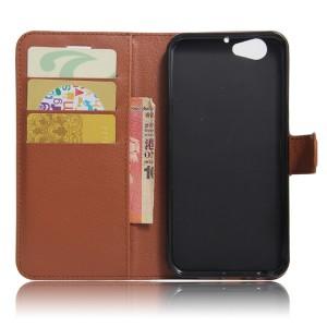 Чехол портмоне подставка на силиконовой основе с отсеком для карт на магнитной защелке для HTC One A9S  Коричневый