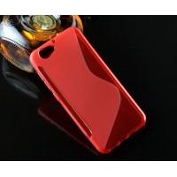Силиконовый матовый полупрозрачный чехол с дизайнерской текстурой S для HTC One A9S  Красный