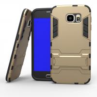 Силиконовый матовый непрозрачный чехол с поликарбонатными вставками экстрим защиты с встроенной ножкой-подставкой для Samsung Galaxy S6 Бежевый