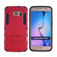 Силиконовый матовый непрозрачный чехол с поликарбонатными вставками экстрим защиты с встроенной ножкой-подставкой для Samsung Galaxy S6 Красный