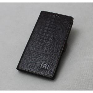 Кожаный чехол горизонтальная книжка подставка премиум (нат. кожа крокодила) с крепежной застежкой для Xiaomi Mi Mix Коричневый