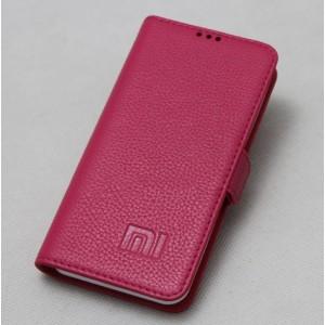 Кожаный чехол горизонтальная книжка подставка с крепежной застежкой для Xiaomi Mi Mix Розовый