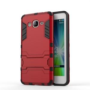Противоударный двухкомпонентный силиконовый матовый непрозрачный чехол с поликарбонатными вставками экстрим защиты с встроенной ножкой-подставкой для Samsung Galaxy Grand Prime Красный