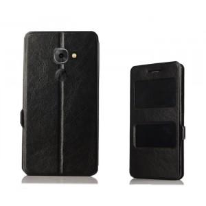 Чехол горизонтальная книжка на силиконовой основе с окном вызова и полоcой свайпа на магнитной защелке для Blackberry DTEK60