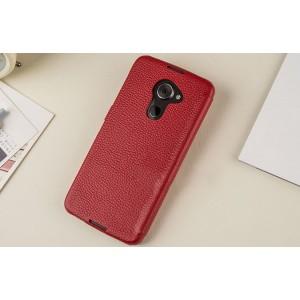 Кожаный чехол горизонтальная книжка (премиум нат. кожа) с крепежной застежкой для Blackberry DTEK60