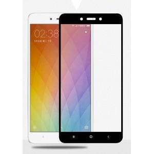 Полноэкранное ультратонкое износоустойчивое сколостойкое олеофобное защитное стекло-пленка для Xiaomi RedMi Note 4 Черный