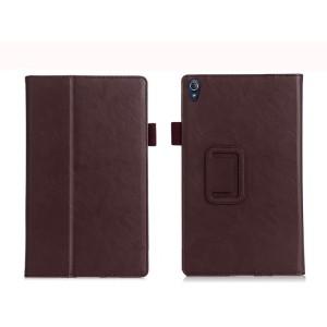 Чехол книжка подставка текстура Узоры с рамочной защитой экрана, крепежом для стилуса, отсеком для карт и поддержкой кисти для Lenovo Tab 3 8 Plus Коричневый