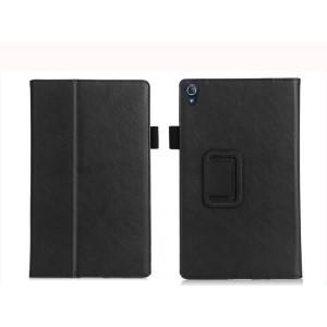 Чехол книжка подставка текстура Узоры с рамочной защитой экрана, крепежом для стилуса, отсеком для карт и поддержкой кисти для Lenovo Tab 3 8 Plus Черный
